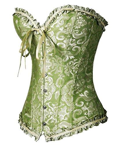 PhilaeEC De las Mujeres de Talla de la Ropa Interior Nupcial ata Para Arriba el Satén Corsé Deshuesado + G-string Verde