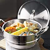 "HOMI CHEF 5QT 9.5"" WHOLE FOOD Steamer Insert with Lid (3 Ridges for 8""/ 9""/ 9.5"" Pots, 4.5"" Deep, Nickel Free Stainless Steel) / Universal Steamer Inserts for Pots/Vegetable Steamer Insert for Pot"