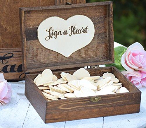 Heart Holder for Guest Book - Heart Drop Guest Book Alternative Box - Heart Box - Wedding Box - Wedding Card Holder - Rustic Weddings (Feat Card)