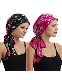 Head Scarf Cover Turban Beanie Hat Chemo Cap Cancer Headwear - 2 Pack