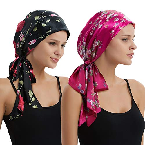 Women's Head Scarf Multifunctional Headwear for Cancer Chemo Hair Loss Sleeping Night Cap Cotton/Satin Headwraps