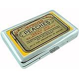 Vintage Condom Tin Peaches Metal Silver Cigarette Case Holder Box D-036