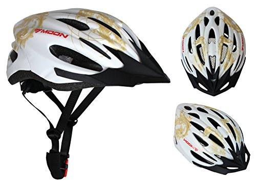 Replace Transfer Roller (Moon Adjustable Cycling Bike Helmet with LED Lamp Light and Visor,Specialized for Cycling/Road Racing/MTB,Unisex Adult,Large(White&Gold))