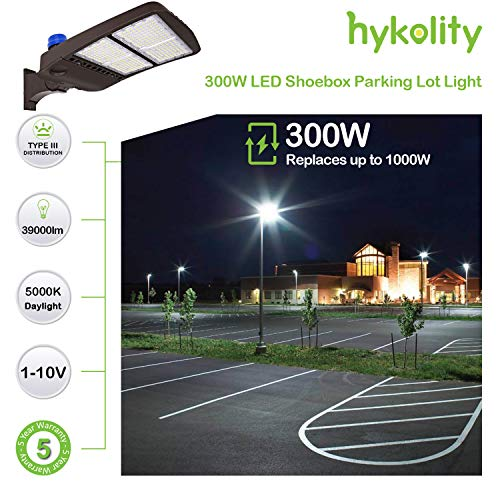 Hykolity 300W LED Parking Lot Light with Photocell,39000lm 5000K Waterproof LED Shoebox Fixture, Outdoor Pole Mount Light for Large Area Lighting [1000w Equivalent] Arm Mount DLC Complied by hykolity (Image #2)