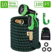 #LightningDeal Vansware Garden Hose Expandable, 100FT Flexible Water Hose 10 Function Spray Nozzle Solid Brass Fittings On/Off Valve Leakproof Lightweight Extra Strength Fabric Expanding Hose for Watering/Washing