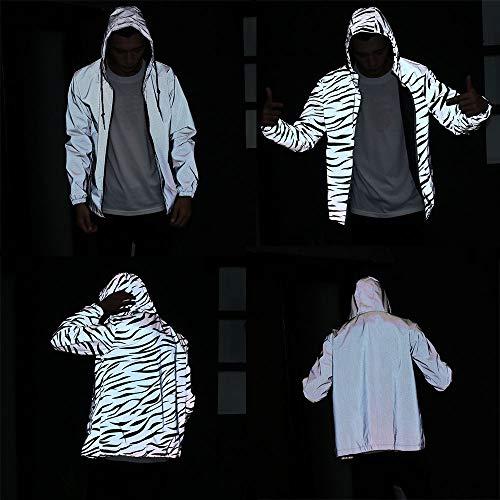 - Men Women Jacket Hip Hop Windbreaker Reflective Jacket Zebra Stripe Fluorescent Hooded Coat Cool Couple Clothing (Zebra,L)