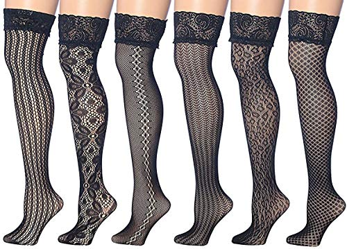 - Isadora Paccini Women's 6-Pairs Fishnet Lace Thigh High Stockings (THI30-SIX)