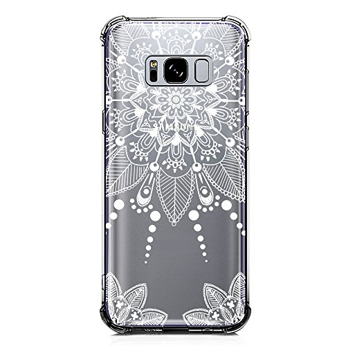 Galaxy S8 Case Clear with Henna Design Shockproof Protective Case for Samsung Galaxy S8 5.8 Inch Cute Mandala Flowers Pattern Flexible Soft Slim Fit Rubber Floral Cell Phone Back Cover for Girls Women