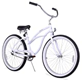 Firmstrong Urban Lady Alloy Single Speed Beach Cruiser Bicycle, 26-Inch, White For Sale