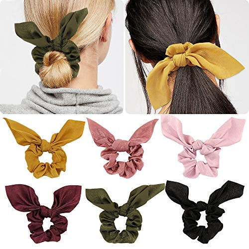 (Ondder Bow Scrunchies for Hair Satin Silk Scrunchies, Hair Accessories for Women Ladies Young Women, 6 Assorted Colors Scrunchies)