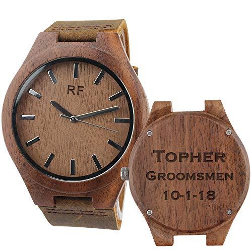 Custom Watch Straps - Personalized Engraved Mens Wooden Watch - Brown Leather Strap Casual Ebony Wristwatch - Custom Groomsmen Gifts Wedding Anniversary Gifts for Men Personalized Gifts for Him