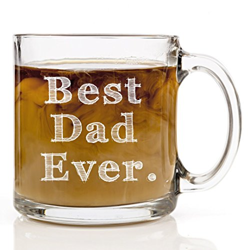 Best Dad Ever Custom Glass Mug for Men, Unique Cup for Daddy, Customized Novelty Coffee Mugs for Greatest Dad & Grandpa, Perfect Present for Father's Day, Birthday Gift Ideas for Dads - 13oz