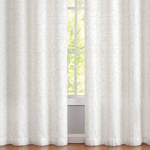 Romantex Linen Embroidery Metallic Faux Linen Silver Window Curtain Panels 63 inches Leaf Patterned Semi Sheer Curtains Drape
