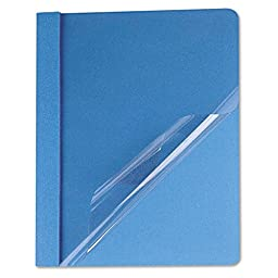 Universal 57121 Clear Front Report Cover, tang Fasteners, Letter Size, Light Blue, 25/Box
