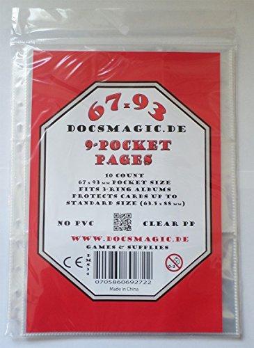 docsmagic.de 10 9-Pocket Pages - 11-Hole - 3-Ring Album - MTG - Yu-Gi-Oh! - Pokemon - Feuilles de classeur 9 pochettes