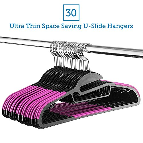 Zober Premium Quality Space Saving S-Shape Clothes Hangers Multifunctional Ultra Thin Nonslip Hangers with Collar Saving U-Slide Slit, Scarf and Tie Bar, Strap Hooks, 360 Chrome Swivel Hook, 30 Pack