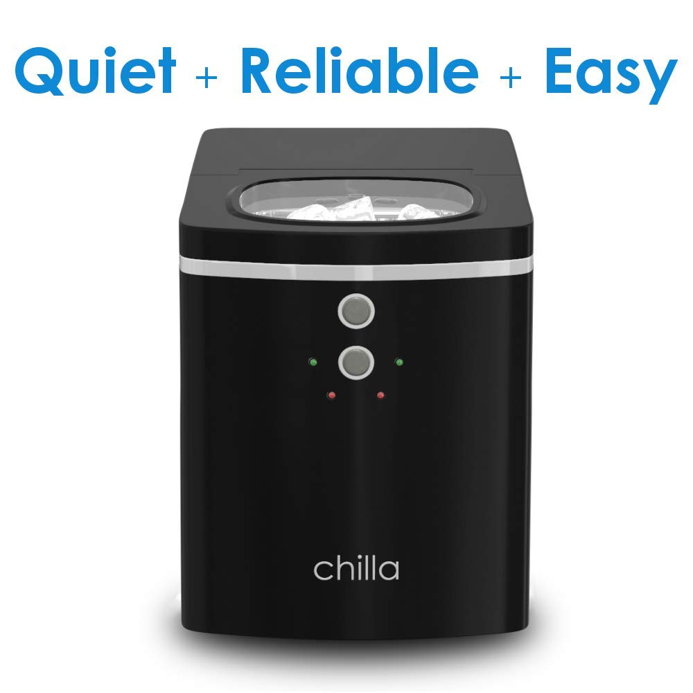 25 lbs of Ice Per Day Chilla Portable Countertop Ice Maker For Home or Office Chewable Delicious Bullet Ice Reliable and Quiet Comes with 5 Reusable Ice Bags for Ice Storage