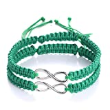 Gmai 2Pcs 8 infinity Couple Braided Handcrafted Leather Luck Bracelet Bangle Rope Adjustable Chain Fit 7-9 Inch Wrist