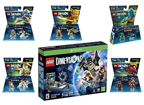 Lego Dimensions Ninjago Starter Pack + Jay + LLoyd + Nya + Zane + Sensei Wu Fun Packs for Xbox One or Xbox One S Console by WB Lego