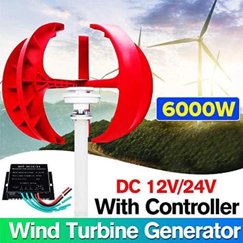 SISHUINIANHUA 6000W AC 12V 24V Wind-Turbinen-Generator-Laterne 4 Blades Motor Kit Vertikale Achse + Controller für Außen Hybrids Elektromagnetische,24v