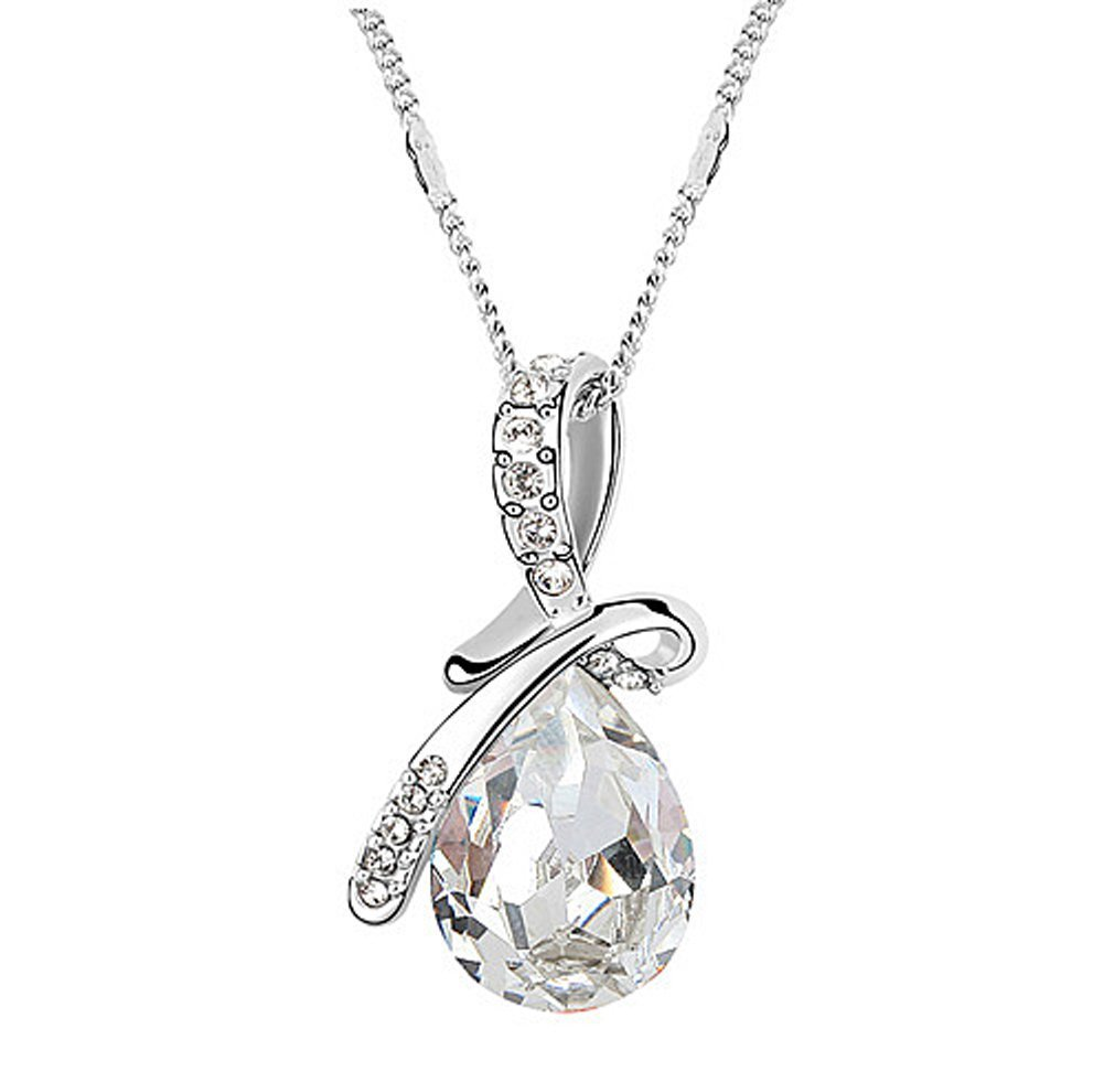 Acefeel Made with Swarovski Element Crystal Eternal Love Teardrop Pendant Necklace Fashion Jewelry for Women N087 N092