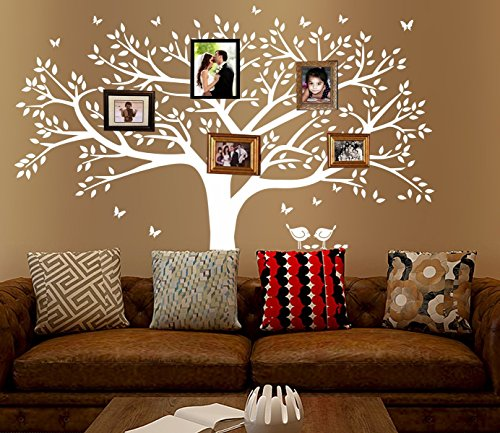 Family Tree Wallpaper - MAFENT Giant Family Tree Wall Decals Photo Frame Wall Decal Vinyl Wall Art Wall Stickers Home Decals Room Wall Decorations (White)
