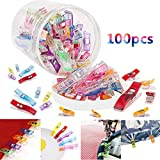 Ocean Star® OCEAN Sewing Wonder Clips 100PCS Multipurpose Sewing Accessories Multi Purpose Clips Crocheting, Crafting And Knitting Safety Clips PET Transparent Cans Package (Multiple Colour)
