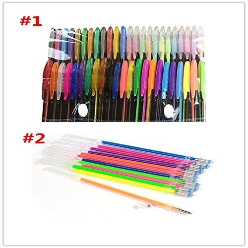 Tcplyn Premium Quality 48Pcs Pen Refills Glitter Colorful Gel Ink Refills DIY Crafts Stationery Supplies Student Gift by Tcplyn (Image #3)