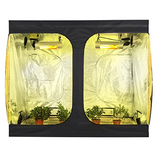 "510odDhJCNL - IDAODAN 96""x48""x80"" Mylar Hydroponic Grow Tent with Metal Push-Lock Corners, Obeservation Window and Floor Tray for Indoor Plant Growing 4'x8'"