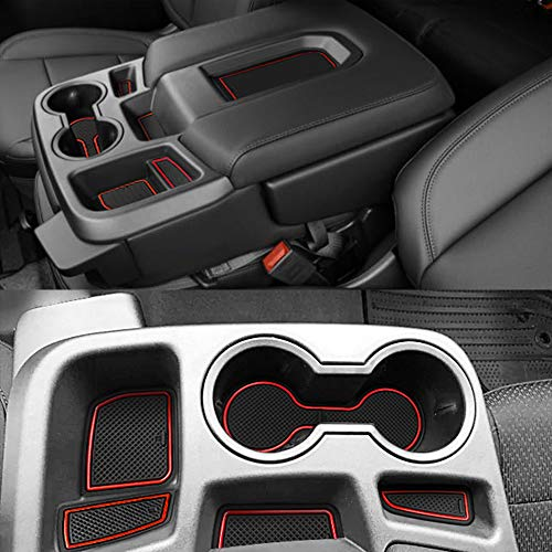 Auovo Anti Dust Door Mats for Chevy Chevrolet Silverado 1500 or GMC Sierra 1500 2019 2020 Interior Accessories Custom Fit Door Cup Center Console Liners(Crew Cab, Split-Bench Seat, 27pcs) (Red)