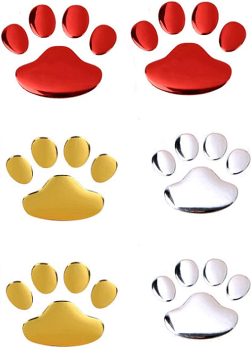 Dog Paw Footprint Car Stickers and Decals 6 Packs 3D Animal Decal Auto Car Window Emblem Decal Decoration Silver Red Gold