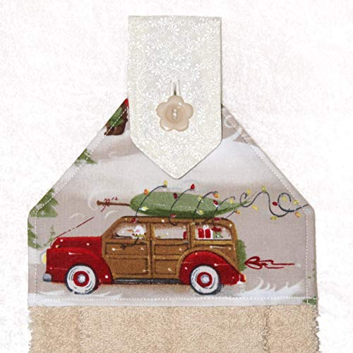 - Car Hand Towel - Christmas Tree - Woodie Vintage Car - Tan Plush Towel - Retro Holiday Decor
