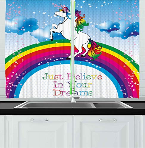 Ambesonne Fantasy Kitchen Curtains, Unicorn Surreal Myth Creature Before Rainbow Clouds Star Fantasy Girls Fairytale, Window Drapes 2 Panel Set for Kitchen Cafe, 55 W X 39 L Inches, Multicolor ()