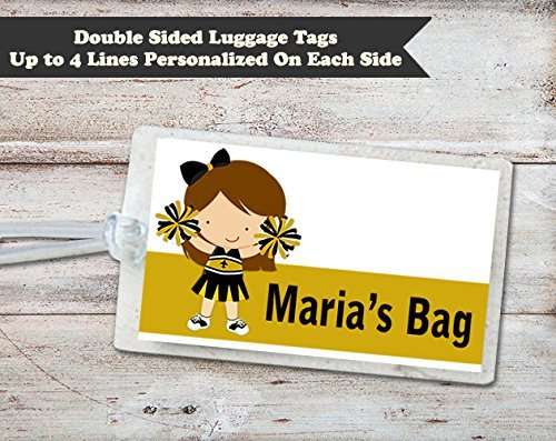 Cheerleader Personalized Laminated ID Luggage Bag Tag, Black and (Cheerleader Luggage Tag)