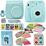 Fujifilm Instax Mini 9 Instant Fuji Camera ICE BLUE (NEW 2017 Release) + Accessories Bundle + Custom Matching Case + Photo Album + Assorted Frames + 4 Color Filters + 60 Sticker Frames + MORE