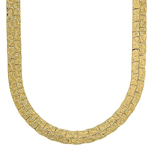 - The Bling Factory 7.5mm 14k Gold Plated Nugget Chain Necklace, 18