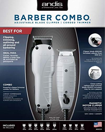 Andis Barber Combo-Powerful Clipper/Trimmer Comber Kit