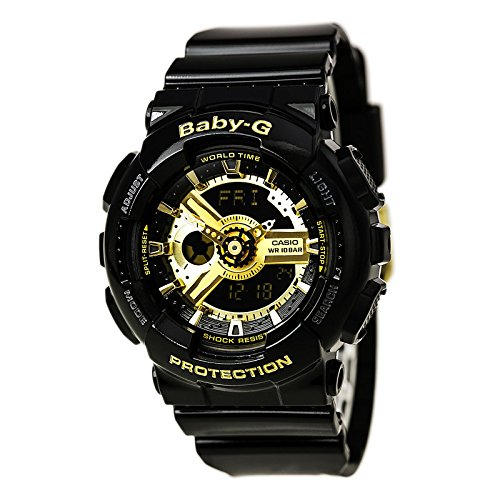 Baby G Strap (Casio Women's BA-110-1ACR Baby-G Goldtone Analog-Digital Display and Black Resin Strap Watch)