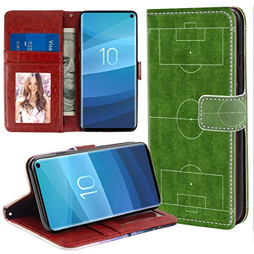 (MOTIKO Wallet Case Card Holder Soccer Field Compatible with Samsung Galaxy S10 All-Sided Shock Absorption Flip Case Folio Protective Cover)