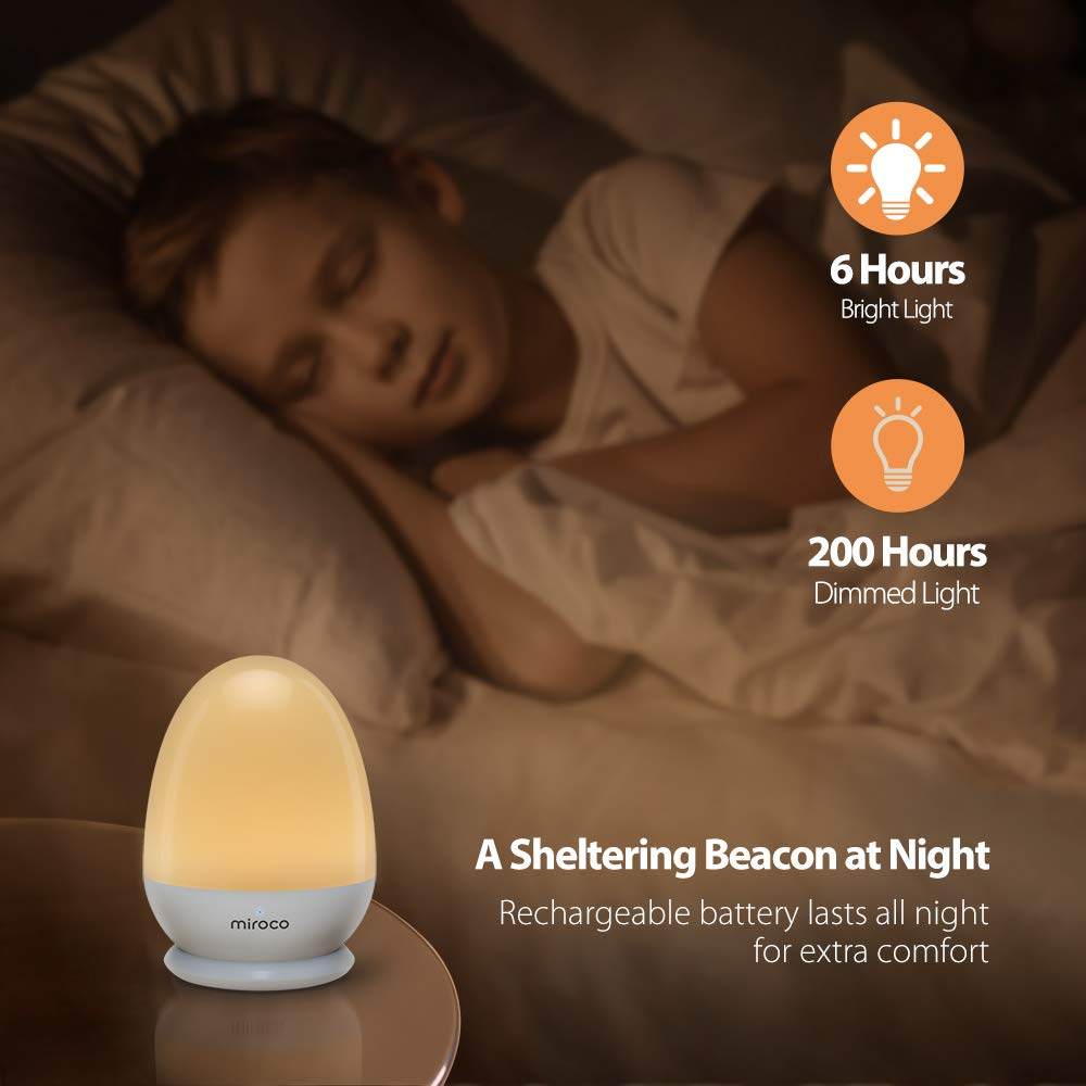 Miroco Night Lights for Kids, LED Baby Nightlight Breastfeeding Light 100% Toddler Safe, Touch Lamp USB Bedside Lamp Dim Nursery Lamp Diaper Changing Night Light, Soft Eye Caring, Timer Setting by Miroco (Image #4)