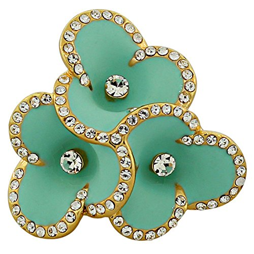 My Daily Styles Fashion Alloy Yellow Gold-Tone Turquoise-Tone Enamel CZ Cocktail Flower Ring