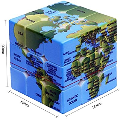 MeterMall 3x3x3 Earth Pattern Magic Cube Speed Puzzle Cube para ...