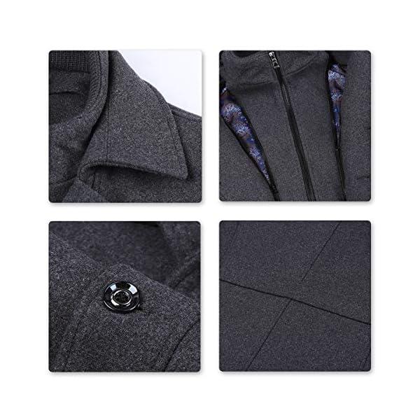 Allthemen Manteau Homme en Laine Chaud Court Epais Slim Fit Business avec Un Col Accessoire Jacket Hiver Trench-Coat