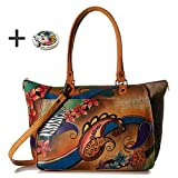 Anna By Anuschka Tote Handbag - Hand Painted Design on Real Leather - Free Purse Holder (L Shopper Paisley Collage)