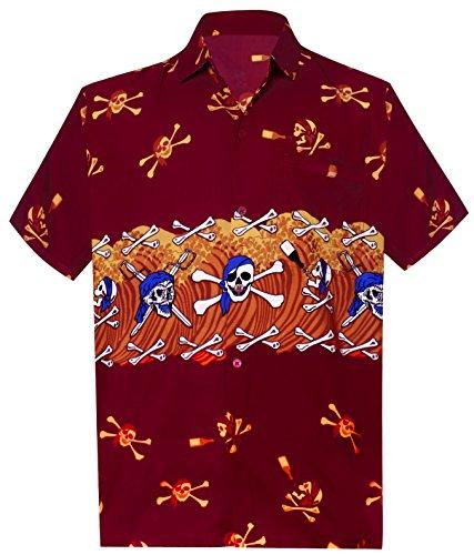 LA LEELA Halloween Pirate Likre Button Down Camp Beach Shirt Red 335 4XL   Chest 64