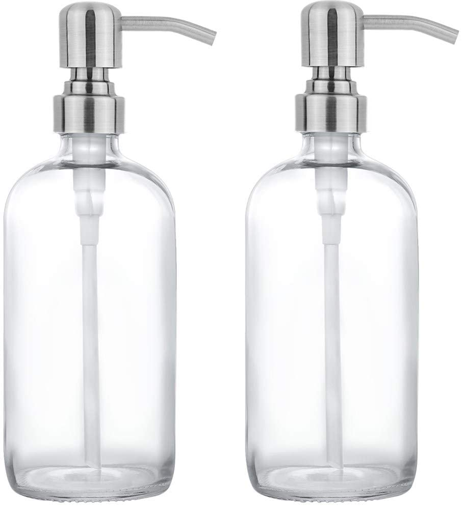 2 Pack Thick Clear Glass Pint Jar Soap Dispenser with Silver Stainless Steel Pump, 16ounce Clear Boston Round Bottles Dispenser with Rustproof Pump for Essential Oil, Lotion Soap