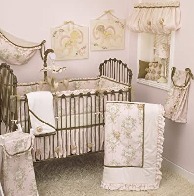 Lollipops and Roses Pink & Tan 8 Piece Shabby Chic Baby Bedding Set