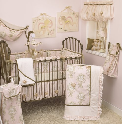 Cotton Tale Designs Lollipops & Roses 8 Piece Nursery Crib Bedding Set - 100% Cotton - Pink Angel Toile, Cream Minky, Tan Velvet Trim, Pink Shimmer Organza Ribbon Roses- Baby ()