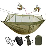 Camping Hammock 2/Double/Two Person with Mosquito Net & Tree Straps, AYAMAYA Camping Gear Portable Parachute Nylon Lightweight Pop Up Sleeping Hammock with Bug/Insect Netting for Backpacking -Green