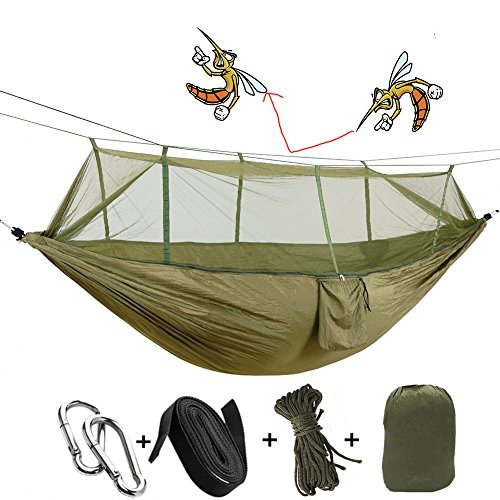 Camping Hammock 2/Double/Two Person with Mosquito Net & Tree Straps, AYAMAYA Camping Gear Portable Parachute Nylon Lightweight Pop Up Sleeping Hammock with Bug/Insect Netting for Backpacking -Green by AYAMAYA